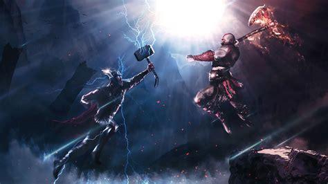 Thor Vs Kratos Art 4k thor wallpapers, superheroes ...