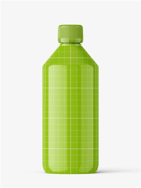 This psd mockup includes special layers and a smart object. Glossy bottle mockup - Smarty Mockups