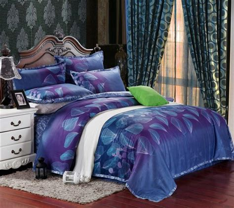 egyptian cotton blue purple satin bedding set king queen