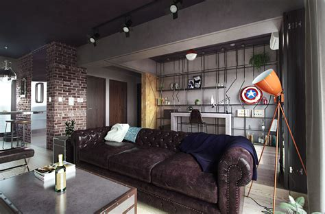 Fabulous Marvel Heroes Themed House With Cement Finish And Industrial Feel by Cgi Interior Fabulous Marvel Heroes Themed House On Behance