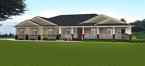 plan  ranch style bungalow  walkout basement covered patio wrap  covered