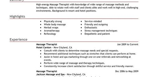 Spa Therapist Resume Templates by Therapist Resume Sle Sle Resumes