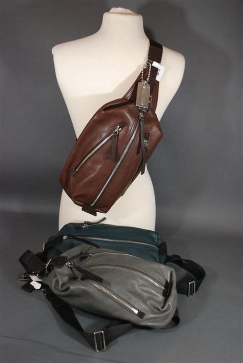 nwt coach men thompson leather sling bag backpack  ebay