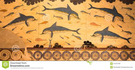 Knossos Palace Dolphins Fresco In Crete, Greece Stock Photo   Image: 41415769