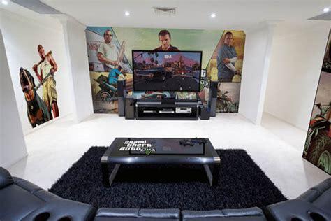 epic video game room  immersive wall mural design swan