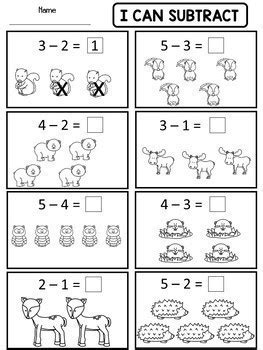 kindergarten addition  subtraction worksheets  danas