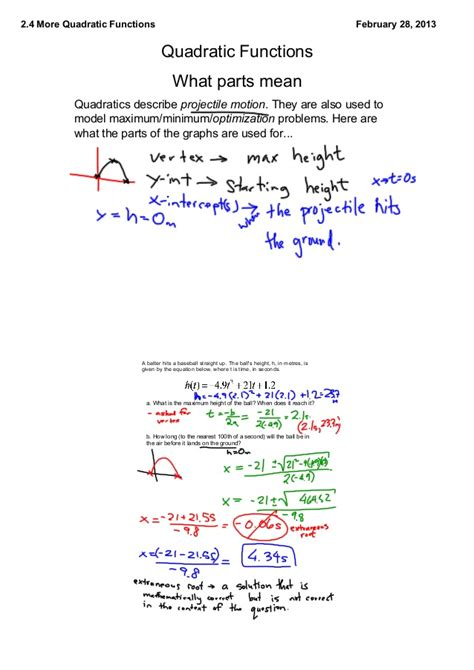 Words Problems And Quadratic Equations