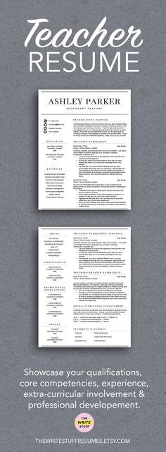 Teacher Resume Template For Word & Pages (1, 2 And 3 Page