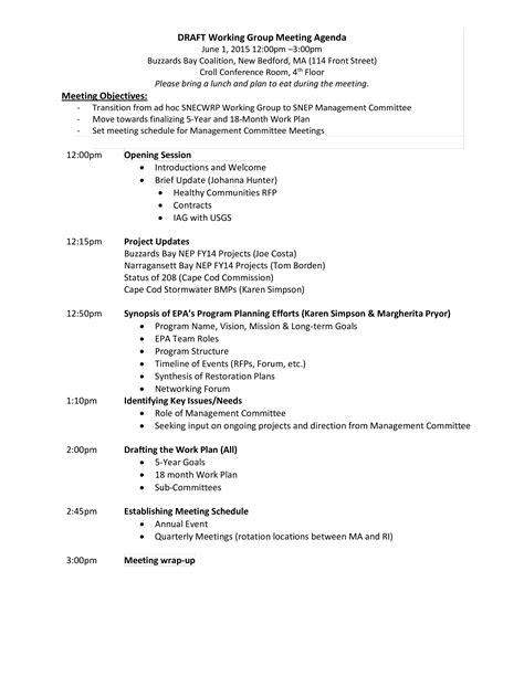 working group meeting agenda templates