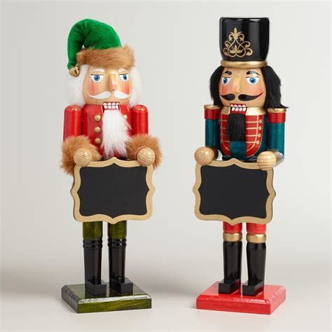 traditional nutcrackers with chalkboard set of 2 world