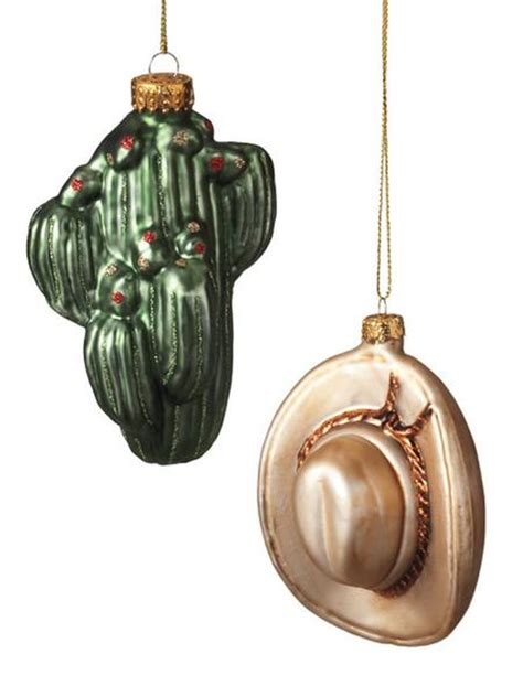 blown glass cactus cowboy hat christmas ornaments