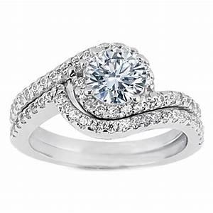 Engagement Ring Swirl Diamond Halo Engagement Ring And