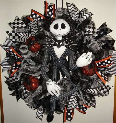 Nightmare Before Christmas Halloween Decorations Outdoor by Jack Skellington Mesh Wreath Nightmare Before Christmas