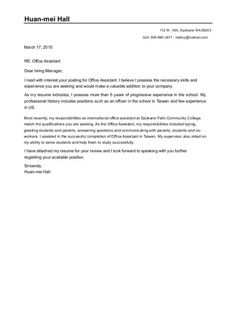 Office Assistant Cover Letter by Cover Letter For Office Assistant Doc