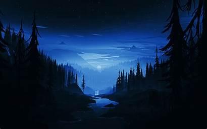 Forest Dark Night Minimal River 4k Minimalist