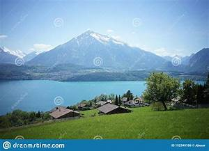 Lake, And, Mountain, On, A, Sunny, Day, Landscape, Scene, In, Bern