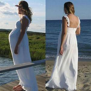 maternity wedding dresses long white chiffon spaghetti With maternity beach wedding dresses
