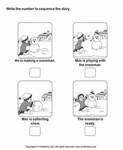 Story Sequencing Mac and Snowman Worksheet - Turtle Diary