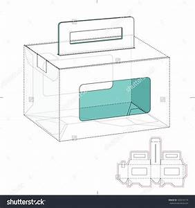 Empty Caring Box With Die Line Template Stock Vector