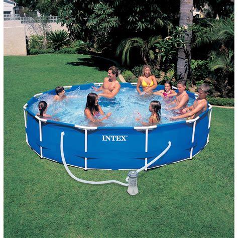 piscine hors sol autoportante tubulaire metal frame intex diam 3 66 x h 0 76 m leroy merlin