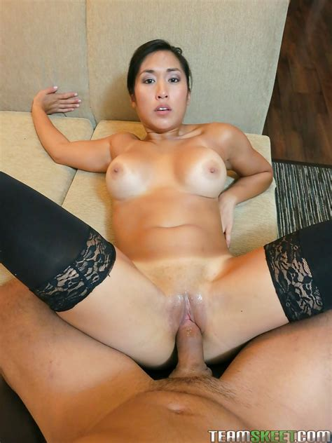 Busty Asian Amateur In Nylons Gives Head And Gets Shagged
