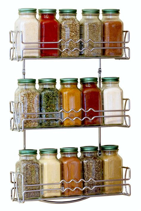 tiered spice racks for kitchen cabinets decobros 3 tier wall mounted spice rack chrome deco 9463