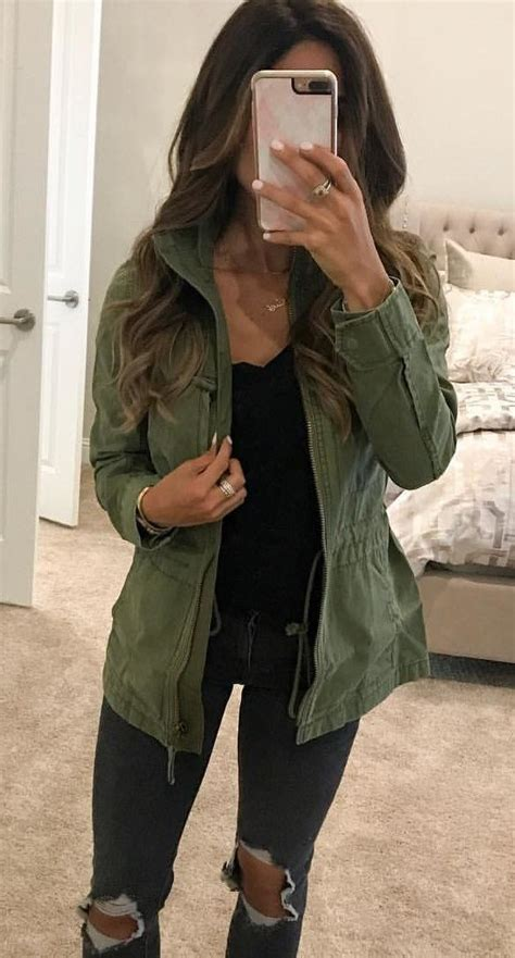 Fall Outfits Womens Green Jacket Outfits In 2019