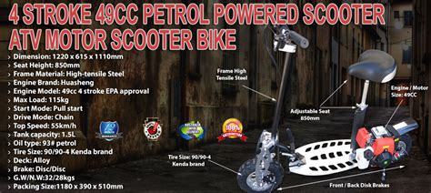 stroke cc petrol powered scooter atv motor scooter bike