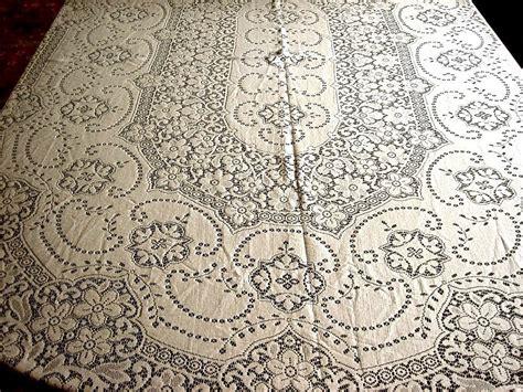 oval cotton tablecloth quaker lace tablecloth vintage oval cotton needle lace flowers