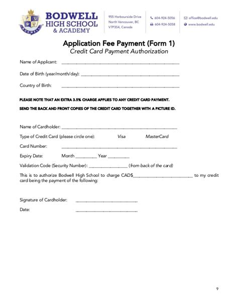 bodwell high school application package