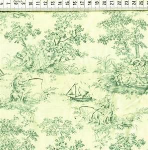 Toile de jouy,motifs bleu vert,fond écru Roland BESSET l' incontournable du PATCHWORK