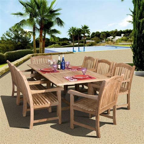 amazonia newcastle piece teak patio dining set sc dian