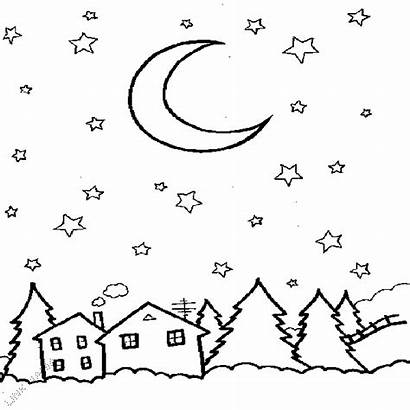 Coloring Sky Night Starry Colouring Outline Printable