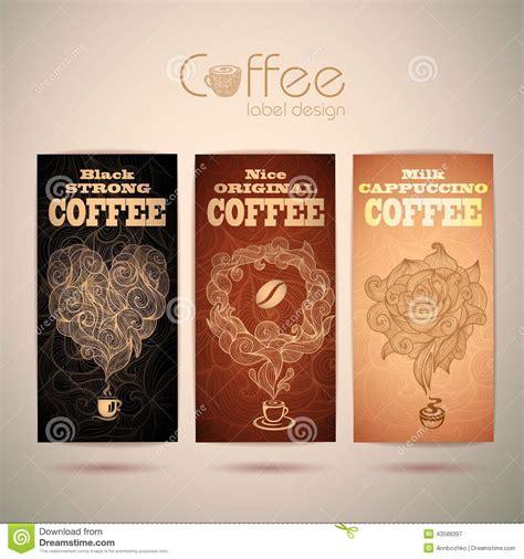 set  vintage coffee labels stock vector image