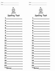 spelling test template cyberuse With free printable spelling test template