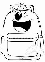 Cartoon Backpack Coloring Coloringpage sketch template