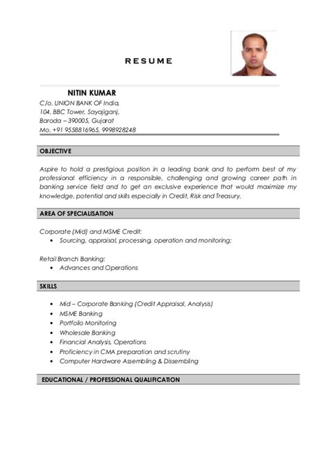 Resume Of Bank Branch Manager In India