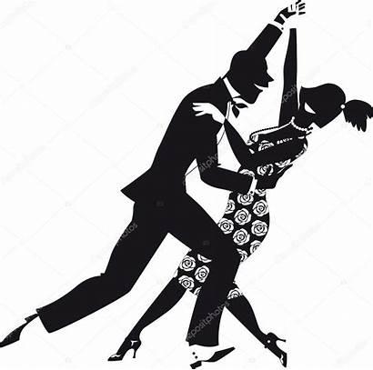Dancing Clip Dance Silhouette Couple Clipart Retro