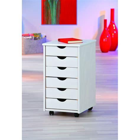 caisson sur roulettes blanc simon meuble 6 tiroirs pour bureau ac deco