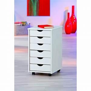 Meuble Pour Bureau : caisson sur roulettes blanc simon meuble 6 tiroirs pour bureau ac deco ~ Teatrodelosmanantiales.com Idées de Décoration