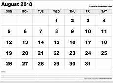 August 2018 Printable Calendar calendar 2017 printable
