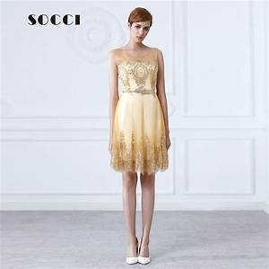 Socci new tulle lace gold cocktail dress short mother of for Formal short dresses for weddings