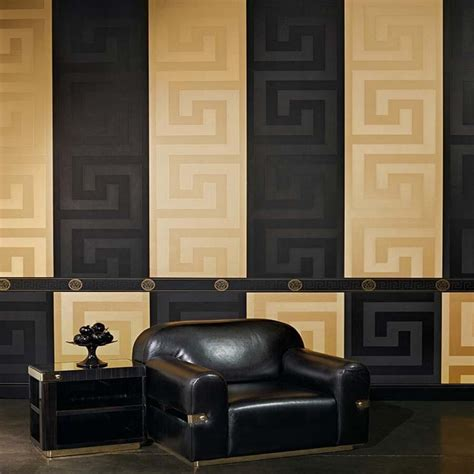 Versace 'greek Key' Designer Luxury Satin Wallpaper In