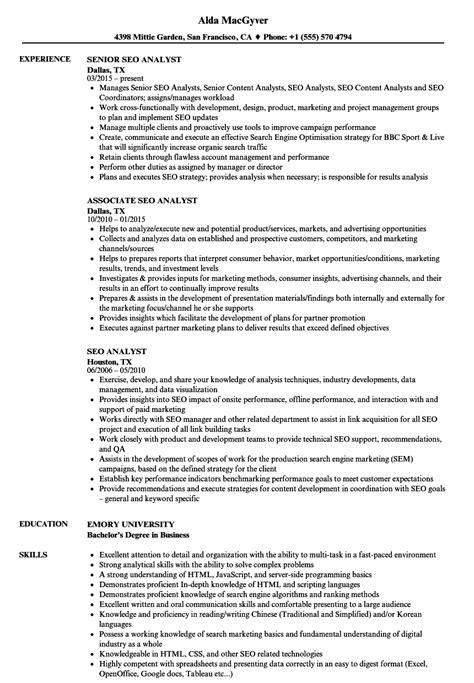Seo Resume by Seo Analyst Resume Sles Velvet