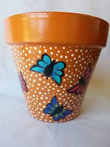 Clay, Pot, Painted, Potterybutterfly, Clay, Pot, Butterfly