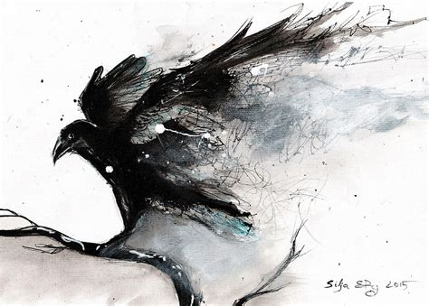 Black And White Framed Artwork by Quot Abstract Raven Ink Art Quot Art Prints By Siljaerg Redbubble