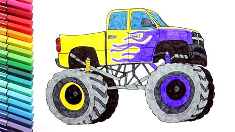 monster truck drawing  coloring vehicles learning monster truck color pages  kids youtube