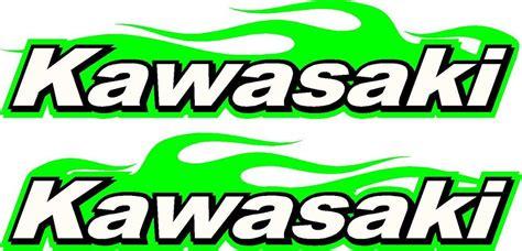 Kawasaki Logo Motorcycle Flame 2 Sticker Decal Set Green 2