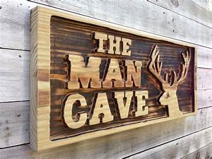 Carved, Man, Cave, With, Deer, Head, Wooden, Sign, Large, Man, Cave