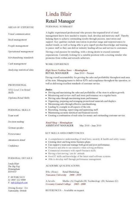 Retail Store Manager Resume Exle by Retail Cv Template Sales Environment Sales Assistant Cv